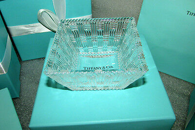 Tiffany & Co Ribbon Gift Boxed Crystal Woven Square Bowls Perfect for Wedding