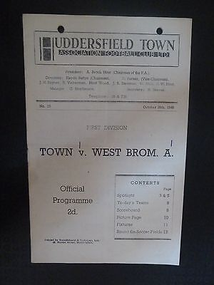 1949/50 HUDDERSFIELD TOWN v  WEST BROMWICH ALBION - 29th October