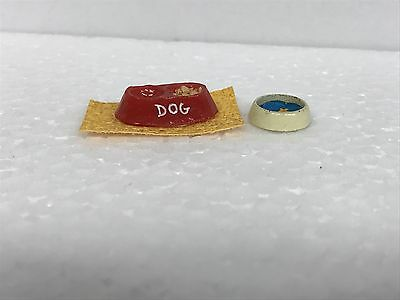 Vintage Dog Dish And Water Bowl Dollhouse Furniture Accessories Renwal