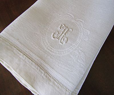"Fine Antique Linen Damask 23.5"" Hand Towel with Beautiful Monogram H"