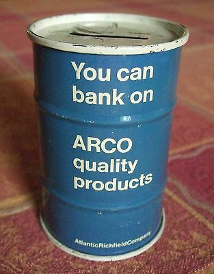 "Vintage Arco Oil Drum Tin Coin Bank Atlantic Richfield Promo 3 11/16"" Tall"
