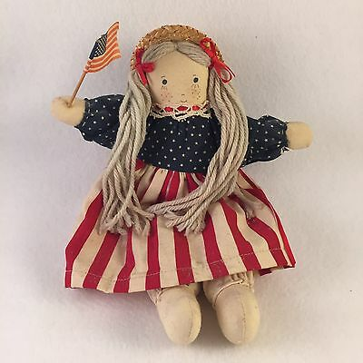 "Vintage Antique DOLL 4th Fourth of July Patriotic American Flag USA 10""  (A5)"
