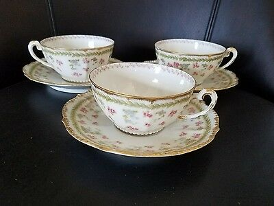 (3) Bawo & Dotter Limoges Elite Works Tea Cup Saucer Sets Green Laurel Pink Gold