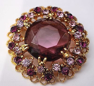 Vintage round brooch purple amethyst glass rhinestone unsigned gold tone