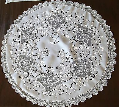"Fine Antique Linen Centerpiece Round Table Topper 34"" Tablecloth Pt. de Venise"