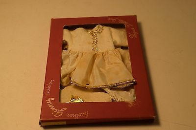 Vintage GiGi Doll Outfit In Vogue Box, White Dress, Gold Color Lace