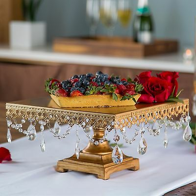 Amalfi Decor Square Cake Stand with Crystals Metal Wedding Party Display Tower