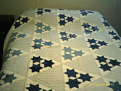 Vintage antique blue and white three stars patchwork hand-stitched quilt