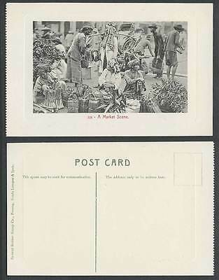 Penang Old Postcard A Market Scene Native Malay Sellers Vendors Traders Rickshaw