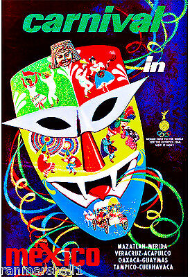 Carnival in Mexico Mexican Latin American Vintage Travel Advertisement Poster