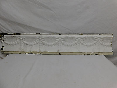 "34"" Antique Tin Ceiling Cornice - C. 1890 Ribbon Design Architectural Salvage"