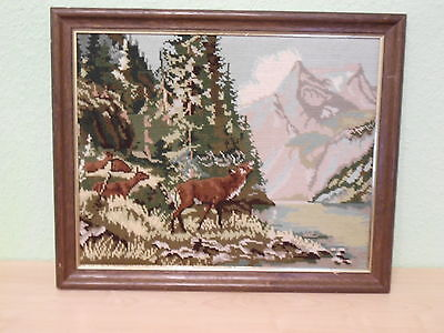 VTG Embroidered Deer and Landscape - with wooden frame -- from Germany