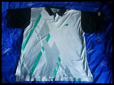Andre Agassi Nike Challenge Court Tennis Polo Shirt Jersey Vintage