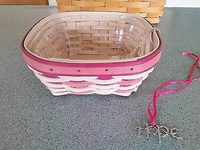 Longaberger 2015 Horizon of Hope Pink Basket, protector, and tie-on set NEW
