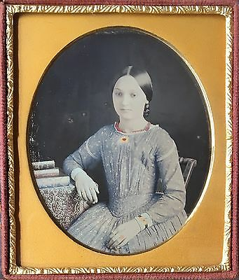 Beautiful Tinted Dress Blue Red Gold Gorgeous Young Lady 1/6 Daguerreotype D434