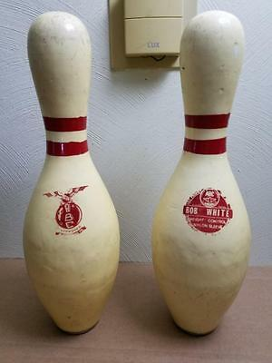 2 Vintage Amf Bob White 3 Lb Regulation Nylon Sleeve Plastic Coated Bowling Pins