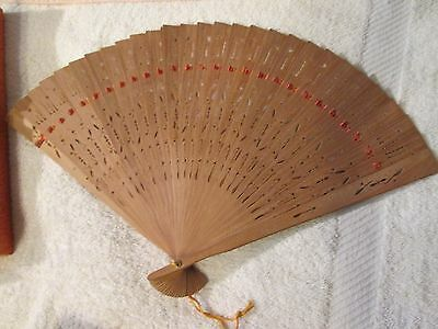 Vintage Chinese Pierced Carved Wood Brise Fan