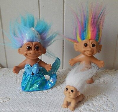 Vintage Russ Mermaid Troll, Bright Of America Rainbow Hair Troll & Baby Troll