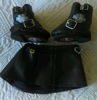 BUILD A BEAR WORKSHOP HARLEY-DAVIDSON BOOTS w/ FAUX LEATHER SKIRt