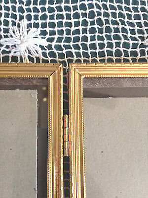 Vintage Solid Brass Notch Edge Design Double Hinged Picture Frame 5 X 7
