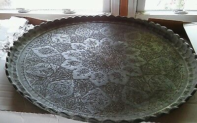Large antique Persian middle east Islamic tin copper etched tray table top 24in.