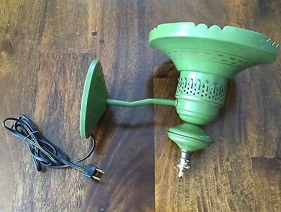 Vintage Tole Mid Century 1960s Green & Gold Wall Sconce HURRICANE Lamp Light
