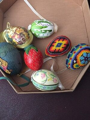 Lot 7 Vtg Seeds Beads Hand Decorated /painted/made Easter Eggs