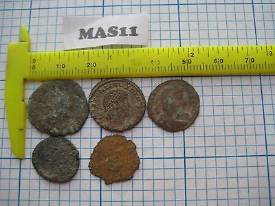 Lot of 5 AS FOUND ANCIENT ROMAN IMPERIAL Æ COINS 1500+ Year Old Lot MAS11