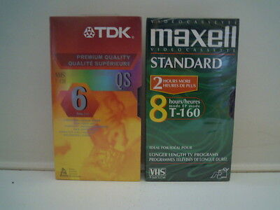 2 Blank VHS Tapes TDK 6 Hours Maxell 8 Hours New Sealed