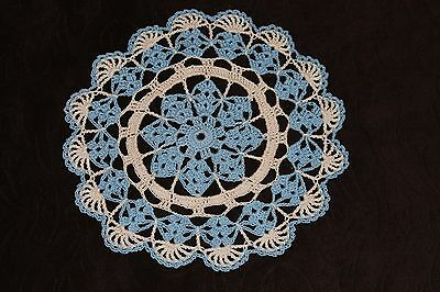 New Hand Crocheted Doily - delft, natural