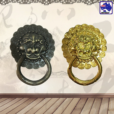 2pcs Vintage Lion Head Shape Door Knocker Bronze/Golden Door Pull Decor TENH618