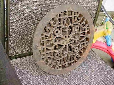 VTG Org Round Cast Iron Heating Grate Datd 1875 Tuttle & Bailey N. Y.  3 Louver