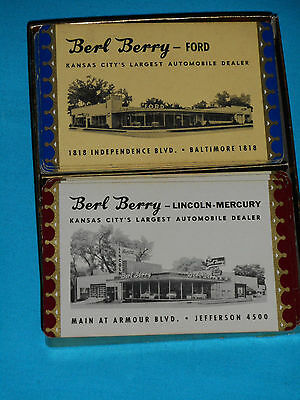 2 Decks Playing Cards, 1950 Kansas City Auto Dealer, Advertising Ford & Lincoln