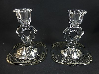 2 Antique PADEN CITY GLASS CANDLESTICKS - Sterling Silver Overlay - Crow's Foot