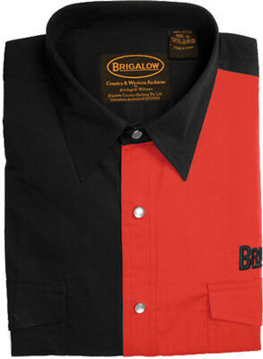 New Mens Two Tone Cotton Shirts-8008-E-Black/Red  Western Shirt Brigalow