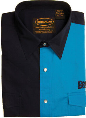 New Mens Two Tone Cotton Shirts-8008-F-Black/Cobalt  Western Shirt Brigalow