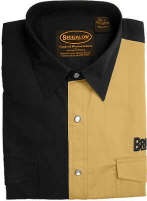 New Mens Two Tone Cotton Shirts-8008-H-Black/Sand  Western Shirt Brigalow