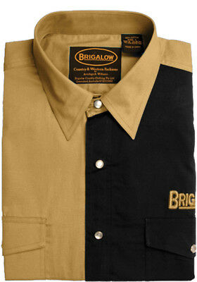 New Mens Two Tone Cotton Shirts-8008-L-Sand/Black  Western Shirt Brigalow