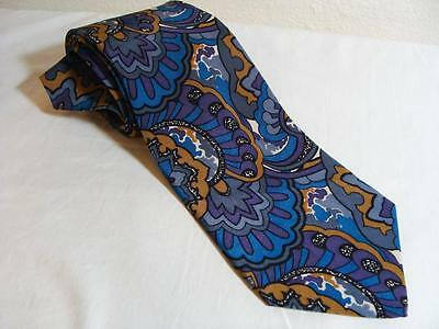 Vtg Modern Psychedelic Abstract Geometric Paisley Silk USA Hand Finished Tie