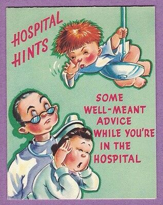 Vtg Rust Craft Comic Hospital Card Red Head Boy Nurse Doctor