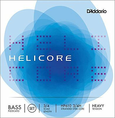 D'Addario Helicore Pizzicato Bass String Set, 3/4 Scale, Heavy Tension
