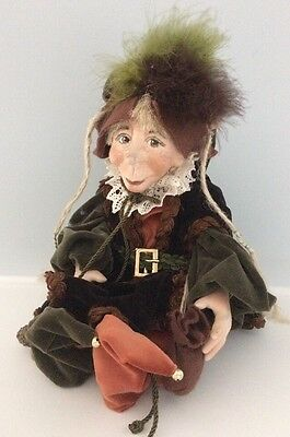 "Montedragone Folletti Bisquit Porcelain  Doll Elf ""Rupert"" From Italy"