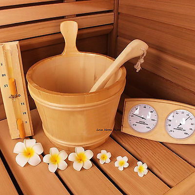 Set of 4Pcs Sauna Accessory Kit Pine Wood Bucket Dippers Sand Timer Thermometer