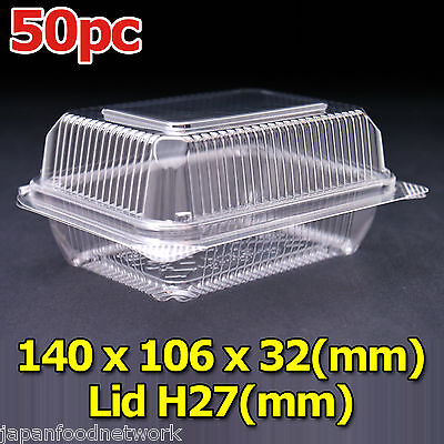 50x Disposable Clear container lunch sandwich box Self Locking CH-8 BPA Free