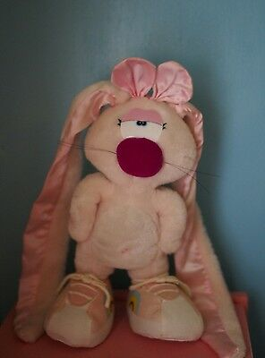 Vintage 1983 80's Applause Wallace Berrie Flopsy Pink Girl bunny rabbit plush