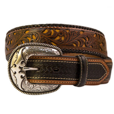 New Black Leather Weave w/ Carved Design-305  Mens Belt Brigalow