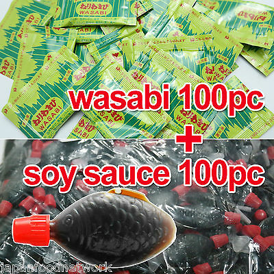 Japanese YAMACHU Wasabi Paste mini 100pc + Soy Sauce Fish Shaped Mini100pc