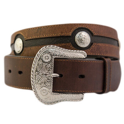 New Belt - Western - Chocolate Leather w/ Silver Conchos [306]  Mens Belt Brigal