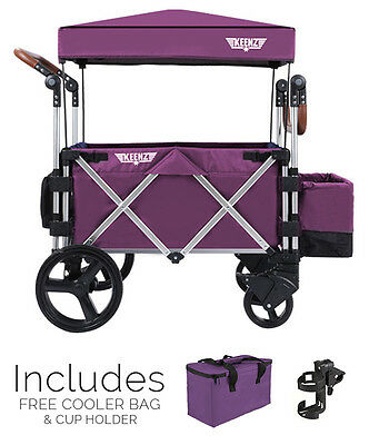 Keenz 7S Premium Stroller Wagon  (Purple) cooler bag & cup holder - NEW FREESHIP