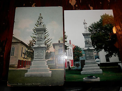 THOMASTON CT - CIVIL WAR - SOLDIERS MONUMENT - OLD Postcard plus MODERN PHOTO